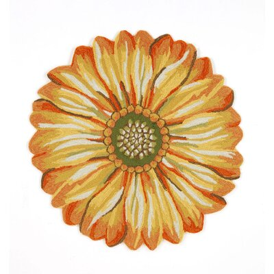 Ismay Gold/Yellow Sunflower Indoor/Outdoor Area Rug Rug Size: Round 5