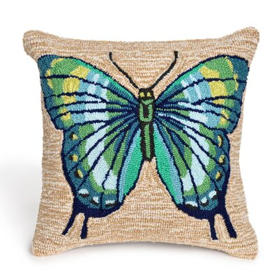 Ismay Butterfly Throw Pillow Color: Blue, Size: 18 x 18