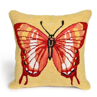 Ismay Butterfly Throw Pillow Color: Red, Size: 18