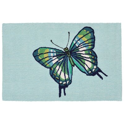 Ismay Butterfly Blue Indoor/Outdoor Area Rug Rug Size: 26 x 4