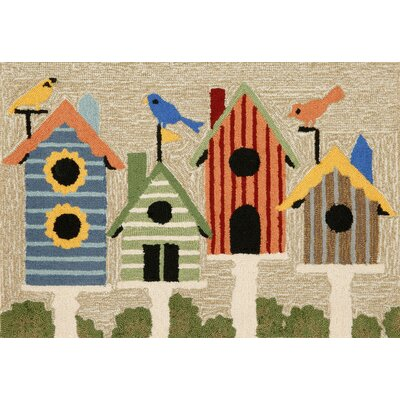 Ismay Birdhouses Neutral Indoor/Outdoor Area Rug Rug Size: 2 x 3