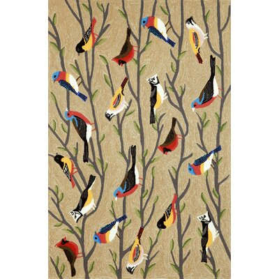 Ismay Birds Neutral Indoor/Outdoor Area Rug Rug Size: 5 x 76