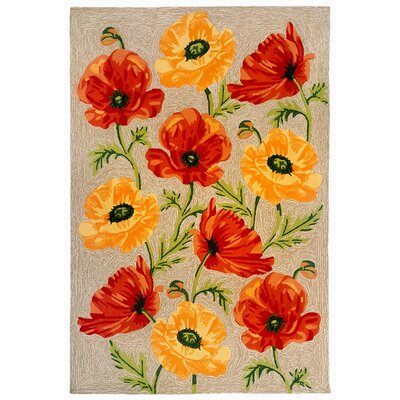Haverstraw Poppies Hand-Tufted Yellow/Red Indoor/Outdoor Area Rug Rug Size: 76 x 96