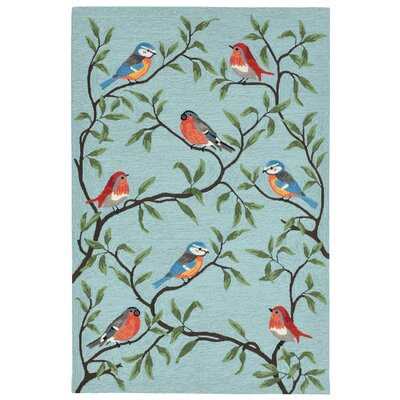 Dazey Birds on Branches Hand-Tufted Blue Indoor/Outdoor Area Rug Rug Size: Runner 2 x 8