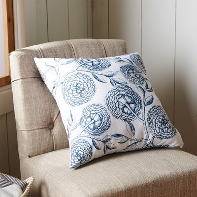 Swan Valley Blooms Antique Flower Throw Pillow Size: 20 H x 20 W, Color: Navy Blue