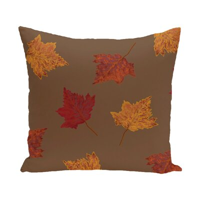 Marine Dancing Leaves Flower Print Throw Pillow Size: 18 H x 18 W, Color: Brown