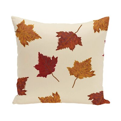 Marine Dancing Leaves Flower Print Throw Pillow Size: 18 H x 18 W, Color: Off White
