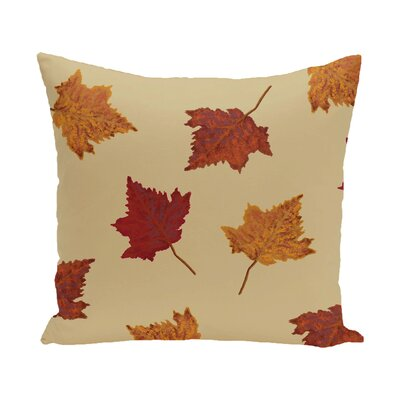 Marine Dancing Leaves Flower Print Throw Pillow Size: 18 H x 18 W, Color: Gold