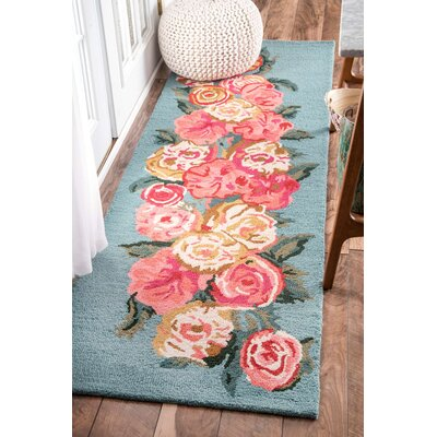 Jeanlouis Hand-Hooked Light Blue/Pink Area Rug Rug Size: Runner 26 x 8