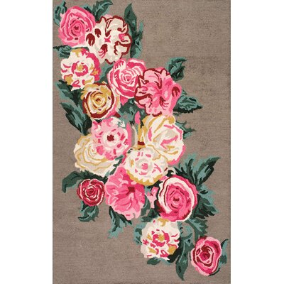 Jeanlouis Hand-Hooked Light Brown/Pink Area Rug Rug Size: 76 x 96