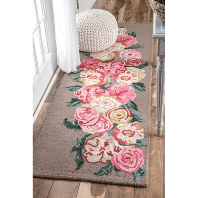 Jeanlouis Hand-Hooked Light Brown/Pink Area Rug Rug Size: Runner 26 x 8