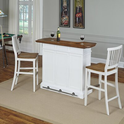 Collette Home Bar Set Finish: White