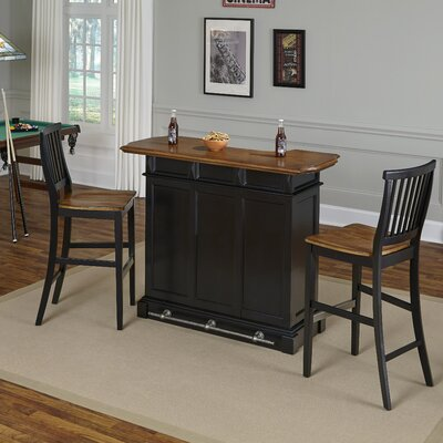 Collette Home Bar Set Finish: Black