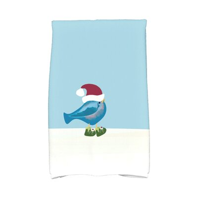 Merry Christmas Bird Hand Towel Color: Teal