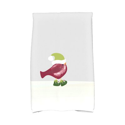 Merry Christmas Bird Hand Towel Color: Cranberry