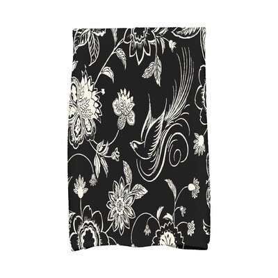 Josiah Traditional Bird Floral Hand Towel Color: Black