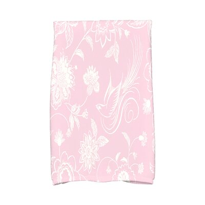 Josiah Traditional Bird Floral Hand Towel Color: Pink