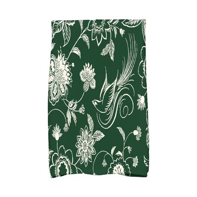 Traditional Bird Floral Hand Towel Color: Green