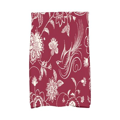 Traditional Bird Floral Hand Towel Color: Cranberry