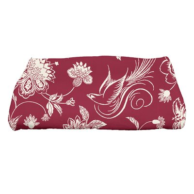 Traditional Bird Floral Bath Towel Color: Cranberry