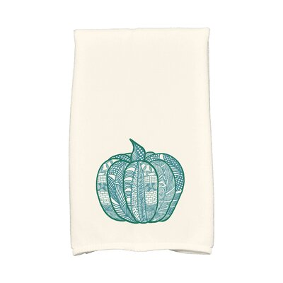 Ames Pumpkin Patch Holiday Print Hand Towel Color: Teal
