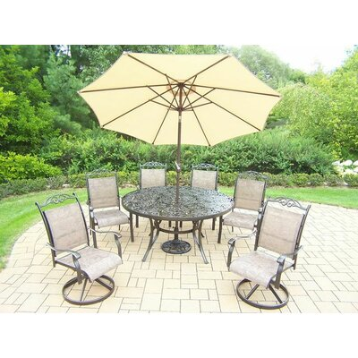 Basile 7 Piece Dining Set Umbrella Color: Beige, Finish: Coffee