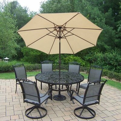 Basile 7 Piece Dining Set Finish: Black, Umbrella Color: Beige