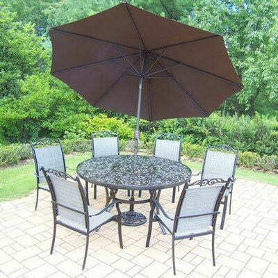 Basile 7 Piece Dining Set Finish: Black, Umbrella Color: Brown