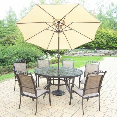 Basile 7 Piece Dining Set Finish: Coffee, Umbrella Color: Beige