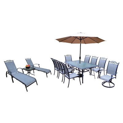 Basile 14 Piece Dining Set Umbrella Color: Brown