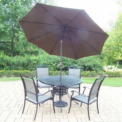 Basile 5 Piece Dining Set Umbrella Color: Brown