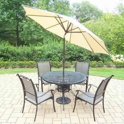 Basile 5 Piece Dining Set Umbrella Color: Beige