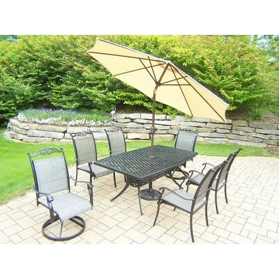 Basile 7 Piece Dining Set Umbrella Color: Beige
