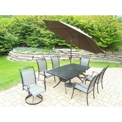 Basile 7 Piece Dining Set Umbrella Color: Brown