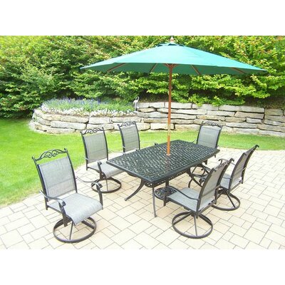 Basile 7 Piece Dining Set Umbrella Color: Green