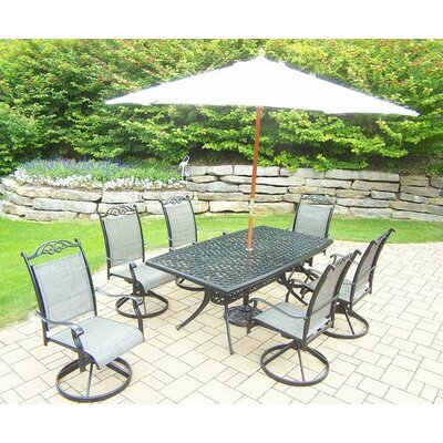 Basile 7 Piece Dining Set Umbrella Color: White