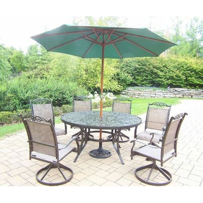 Basile 7 Piece Dining Set Umbrella Color: Green, Finish: Coffee