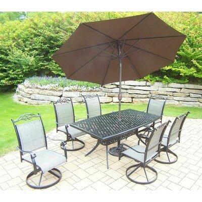 Basile 7 Piece Dining Set Umbrella Color: Brown