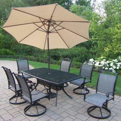 Basile 7 Piece Dining Set Umbrella Color: Beige