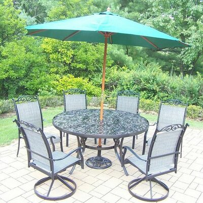Basile 7 Piece Dining Set Finish: Black, Umbrella Color: Green