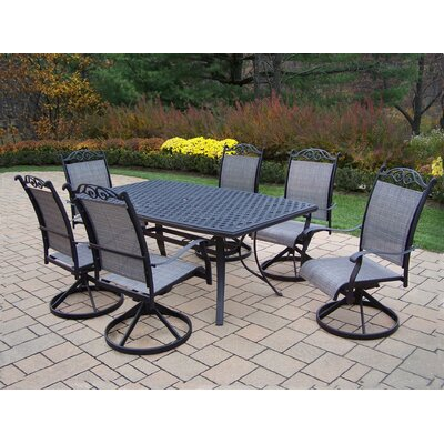 Basile 7 Piece Swivel Dining Set Finish: Black