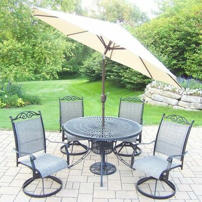 Basile 5 Piece Dining Set Umbrella Color: Beige, Finish: Black