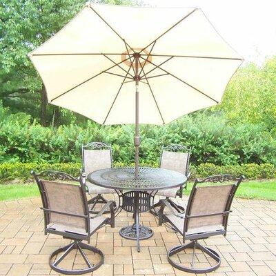 Basile 5 Piece Dining Set Finish: Coffee, Umbrella Color: Beige