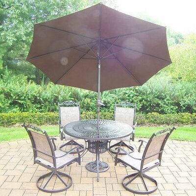Basile 5 Piece Dining Set Finish: Coffee, Umbrella Color: Brown