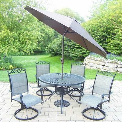 Basile 5 Piece Dining Set Umbrella Color: Brown, Finish: Black