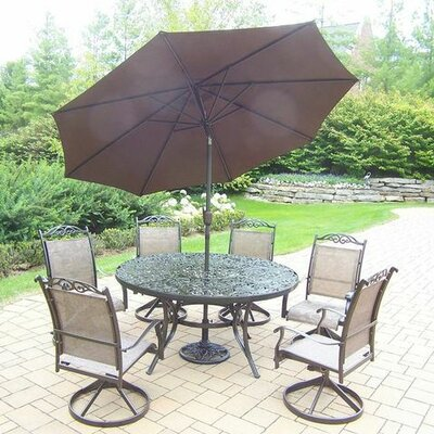 Basile 7 Piece Dining Set Finish: Coffee, Umbrella Color: Brown