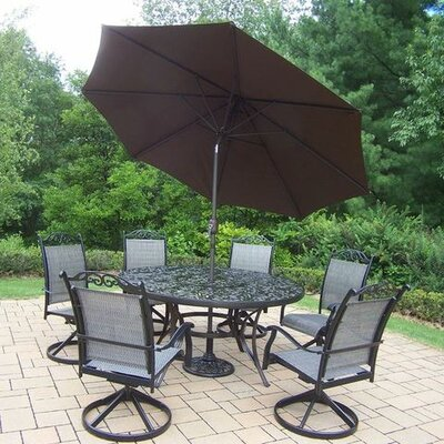 Basile 7 Piece Dining Set Umbrella Color: Brown, Finish: Black