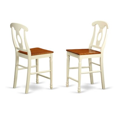 Aimee Bar Stool (Set of 2) Color: Buttermilk/Cherry