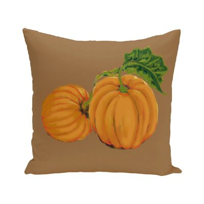 Pinero Pumpkin Patch Holiday Print Floor Throw Pillow Color: Brown