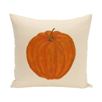 Plyler Pumpkin Holiday Print Throw Pillow Size: 18 H x 18 W, Color: Ivory